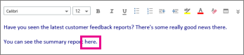 Screenshot showing highlight of word to be formatted.