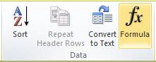 The Data group of the Table Tools Layout tab on the Word 2010 ribbon