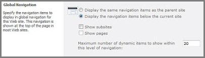 Globa Navigation Settings
