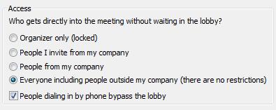Lync Meeting Access options
