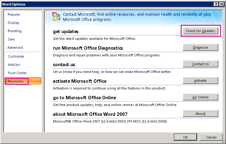 Checking for Office updates in Word 2007