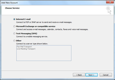 Choose Server option in the Add New Account dialog box