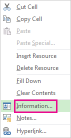 Right-click menu for resources