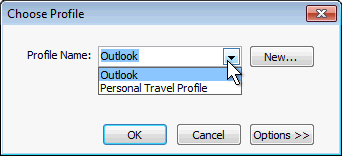Outlook profile selection dialog box