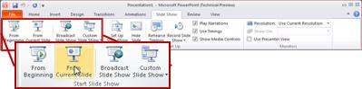 The Slide Show tab, in PowerPoint 2010, looking at the Start Slide Show group.