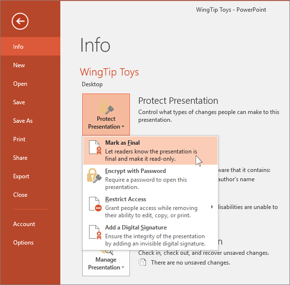 Shows File, Info, Protect presentation button in PowerPoint