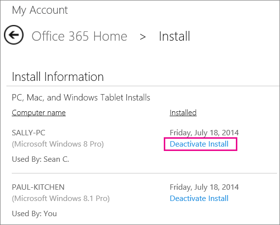 """Screen shot of the Install page with the """"Deactivate Install"""" link selected."""