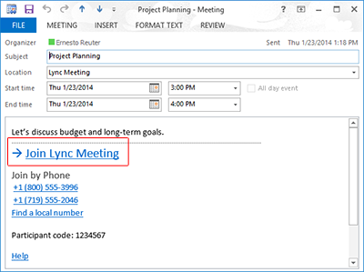 """Lync meeting request with """"Join Lync Meeting"""" highlighted"""