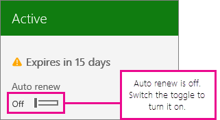 Subscription screenshot showing the auto renew toggle