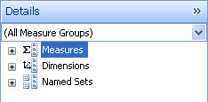 Screenshot of the Details pane, displaying Measures, Dimensions, and Named Sets