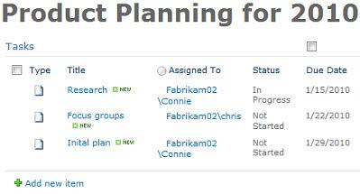 Tasks list on page
