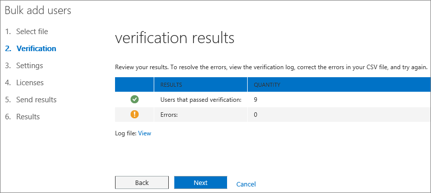 Step 2 of the Bulk Add Users Wizard - Verification
