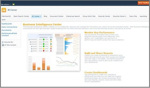 The Business Intelligence Center is optimized to store BI elements