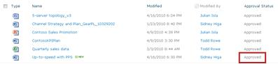 SharePoint library after a pending file has reached Approved status