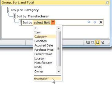 Choosing the expression option in the Group, Sort, and Total pane
