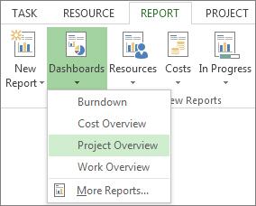 Dashboard menu on the Report tab.