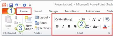 An example of the PowerPoint ribbon. Elements.