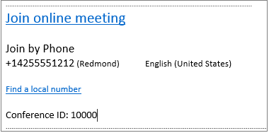 Outlook Web App, Join Online Meeting info in the meeting request