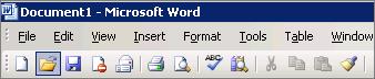 Main menu in Word 2003