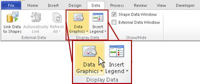 The Display Data group on the Data tab in the Visio 2010 ribbon.
