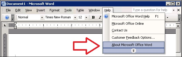 Word 2003 Help, About
