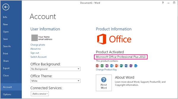 Word 2013 showing the File > Account window
