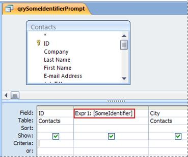 Query that contains an expression that causes the Enter Parameter Value dialog box to appear