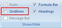 Gridlines check box in Show/Hide group