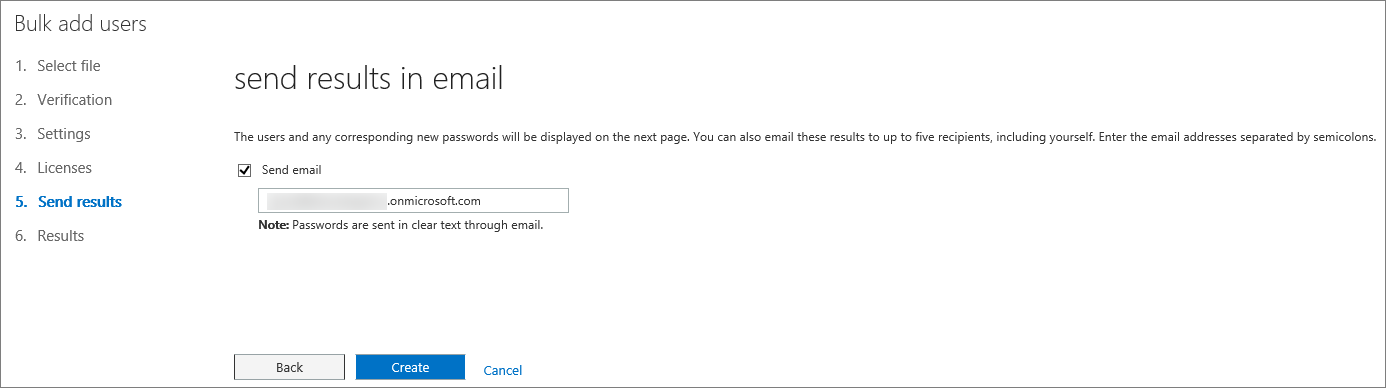 Step 5 of the Bulk Add Users Wizard - Send Results