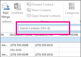 Click Search Contacts on the People tab