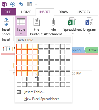 Insert a table into OneNote.
