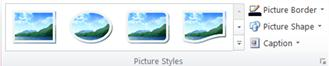 Picture Styles group from the Picture Tools tab in Publisher 2010