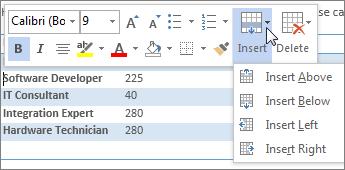 Mini toolbar