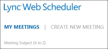 Screen shot of my meetings tab