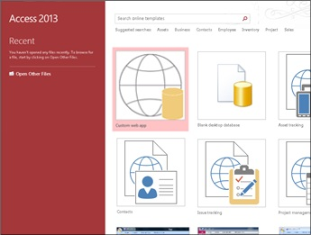 The Access welcome screen, showing the template search box and the Custom web app and Blank desktop database buttons