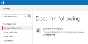 Screenshot of the OneDrive for Business documents you're following in Office 365.