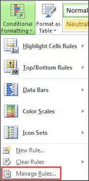 Conditional Formatting menu with Manage Rules highlighted