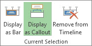 Display as Callout button in Project