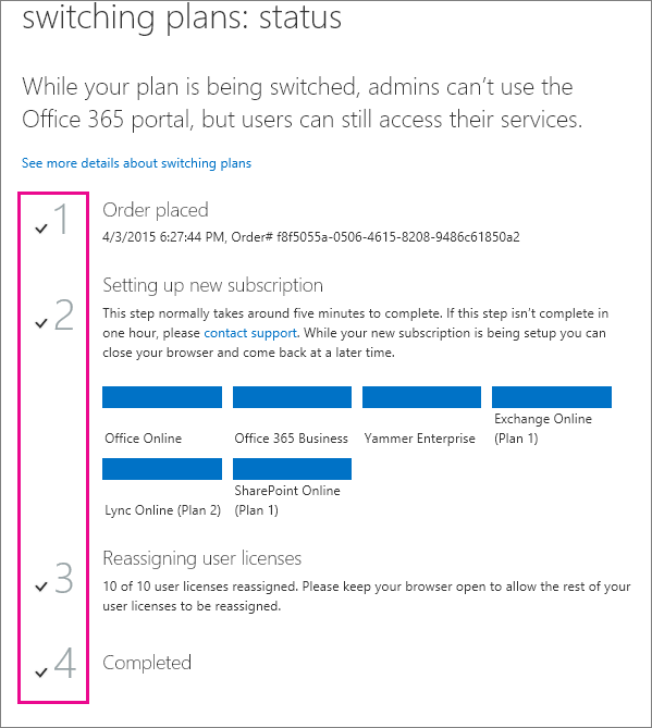 Switching plans status page.