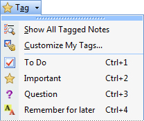 Note tags menu