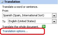 Translation pane with Translation options