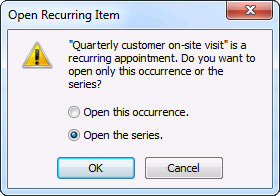 Open Recurring Item dialog box