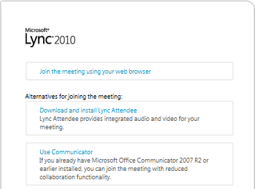 Lync 2010 Join Meeting screen