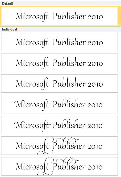 Publisher 2010 stylistic set for advanced typography in OpenType fonts