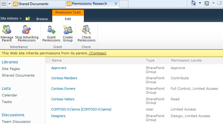 Inheriting permissions from a parent site