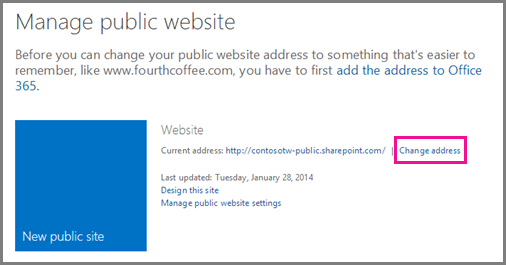 Manage public website, showing Change address location