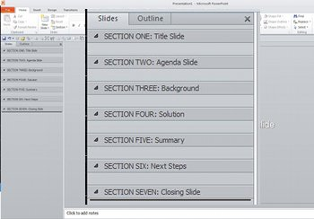 create Sections in presentations