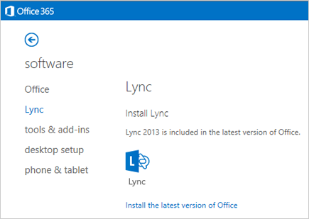Office 365 settings page for Software with Lync selected
