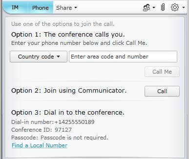 Audio join options for Lync Web App