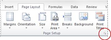 Dialog box launcher in Page Setup group
